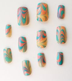 California Summer Sunset Abstract Summer Water Marble Nail Art