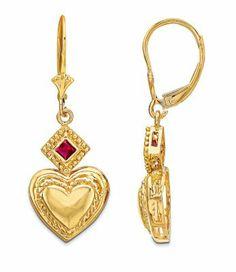 Ruby Accent Heart Earrings