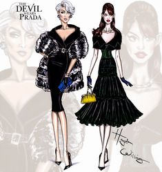 Hayden Williams Fashion Illustrations: The Devil Wears Prada collection by Hayden Williams: Miranda & Andy