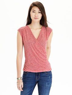 Women's Wrap-Front Jersey Tops Product Image