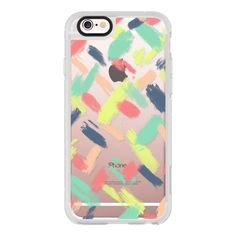 Modern pastel blue pink yellow acrylic brushstrokes paint by Girly... (€36) ❤ liked on Polyvore featuring accessories, tech accessories, iphone case, pink iphone case, iphone cases, apple iphone cases, iphone hard case and iphone cover case