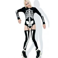 Dolls Kill Voodoo Glow Skull Costume ($58) ❤ liked on Polyvore featuring costumes, doll halloween costume, babydoll costume, skull costume, xray costume and white costume