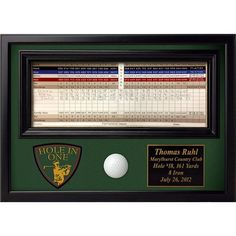 Personalized Hole in One Ball and Scorecard Display Frame with Crest. Wall Mounted Hole in One Display for Golfers. Gifts For Golfers, Golf Gifts, Golf Scorecard, Golf Trophies, Golf Ball Crafts, Crazy Golf, Golf Party, Golf Tips For Beginners, Hole In One