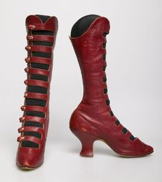 Women's boots, c. 1890. Red leather, metal buttons. Anonymous gift, CC1971.339ab #history #boots #fashion #vintage #chicago #red #leather #unexpectedchicago