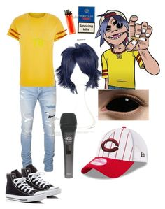 """2-D from the gorillaz"" by laughing-jack5 ❤ liked on Polyvore featuring Balmain, Murphy, River Island, Converse, New Era, men's fashion and menswear"