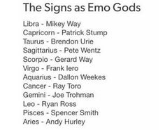 Emo Band Memes, Mcr Memes, Music Memes, Emo Bands, Aquarius And Cancer, Scorpio, Zodiac Clothes, Pop Punk Bands, Zodiac Star Signs