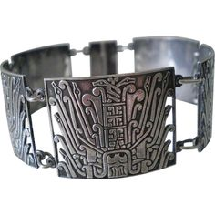 Extraordinary PERUVIAN Mid-century Handwrought Sterling Silver Pre-Columbian TRIBAL PANEL BRACELET ~ 37 Grams