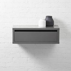 slice grey wall mounted storage shelf  | CB2