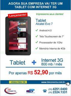 Campanha e-mail markeitng do combo Tablet Alcatel + Plano 3g para a Tim Conecta.