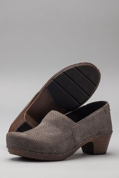 The Dansko Grey Snake Stamped Nubuck from the Mavis collection.