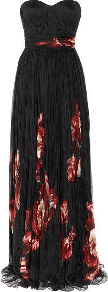ALEXANDER MCQUEEN Floral-Print Pleated Silk Chiffon Gown
