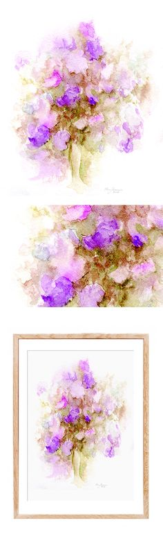 purple flowers still life abstract floral painting handmade watercolor print wall art home design fine art instant download print floral art