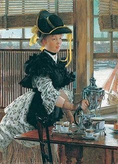 James Tissot: Tea, 1872. (Located: New York, Metropolitan Museum of Art). #tea, #art, #paintings