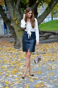 40 Best White Shirt and Leather Skirt for Business Women Woman Skirts business woman leather skirt Best White Shirt, Corporate Attire, Business Attire, Sophisticated Outfits, Black Leather Skirts, White Leather, Outfit Trends, Fashion For Women Over 40, Glamour