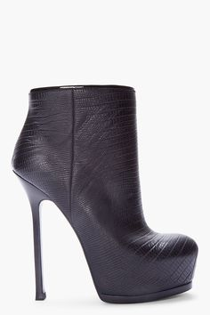 YVES SAINT LAURENT //  BLACK SNAKESKIN EMBOSSED LEATHER TRIBTOO BOOT