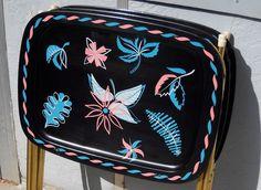 Midcentury trays PAIR atomic 1950s black pink blue TV trays