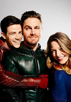 "flashallens: ""Grant Gustin, Melissa Benoist and Stephen Amell for EW. """