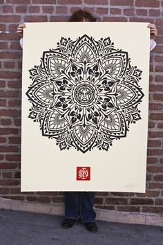 Large-Format Mandala Art Prints by Shepard Fairey We love doing large prints for artists and getting a chance to go through their journey with them. Yarn Bombing, Mandala Drawing, Mandala Art, Arabesque, Graffiti, My Art Studio, Black And White Abstract, Large Art, Op Art
