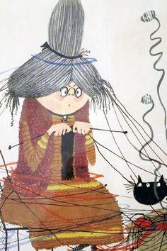 The original illustration of Mrs. - The original illustration of Mrs. Knitting Quotes, Knitting Humor, Crochet Humor, Knitting Projects, Knit Crochet, Knitting Patterns, Knit Art, Photo D Art, Beautiful Drawings