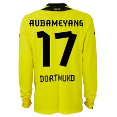 e016da61337 2013-2014 Borussia Dortmund Puma Home Long Sleeve Football Shirt 17  Aubameyang http