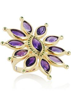 Ileana Makri  Sea Flower 18-karat gold, amethyst and tsavorite ring