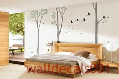 wall decals Wall Sticker,birch ,tree,nature,room decor  - 3 100in Birch Trees. $78.00, via Etsy.