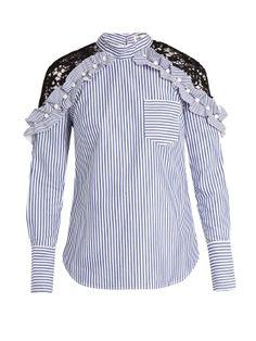 ea9ba4f0d0e Lace-shoulder striped cotton top