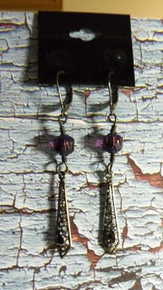 Gunmetal Tone Dangle with Amethyst Cathedral Beads by Spiritracer, $7.99