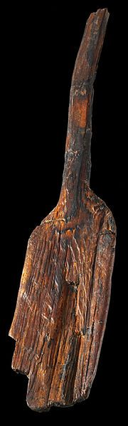 Neolithic Pinewood Paddle -- Among the oldest in the world -- Circa 6200 BCE -- European -- No further reference provided  --  Archaeological Museum, Hamburg, Germany.