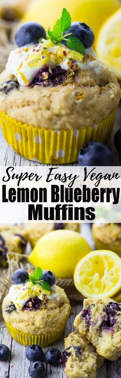 If you're looking for delicious vegan muffins, you will LOVE these vegan lemon blueberry muffins! They're super moist - vegan baking can be so easy! Find more vegan recipes and vegan desserts at veganheaven.org !