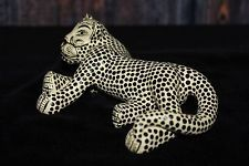 #2 Cream Jaguar Figure, Hand Made Mayan Chiapas Mexico Folk Art Tribal Panther