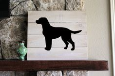 A simple, rustic silhouette of your favorite dog on white-washed distressed wood! This sign measures approximately 16Wx14H. Wall hangers are included