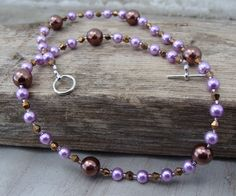 Lavender and Chocolate Pearl Necklace