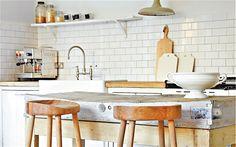 blend neutral tones with wood (Cox & Cox stools)