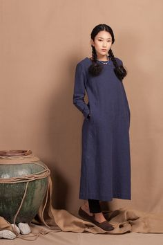 Navy Blue Maxi Blouse Dress Longsleeve Winter by camelliatune