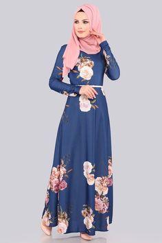ELBİSE Çiçek Desenli Elbise 00202-B329-S İndigo Hijab Dress, Hijab Outfit, Casual Formal Dresses, Islamic Clothing, Abaya Fashion, Indigo, Aurora Sleeping Beauty, Kimono, Abayas