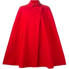 Versace double breasted cape ($3,055) ❤ liked on Polyvore featuring outerwear, coats, capes, red, woolen coat, red coat, red double breasted coat, double breasted woolen coat and short cape