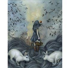 Dan May's Dream World –more (narrative) images @ http://www.juxtapoz.com/Illustration/dan-mays-dream-world – Chicago, Illustration, Dan May, Rabbit