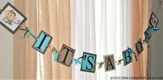 Blue and Brown It's a Boy Banner with Monkey Theme for a Baby Shower or Birthday Party - My Baby Shower Favors blog