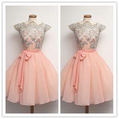 Blush Pink Homecoming Dress/Lace Homecoming Gowns/Blush Pink Sweet 16 Dress #H042
