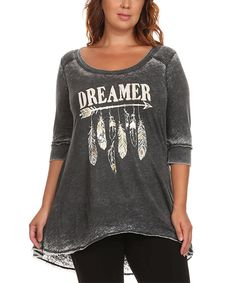 Look at this Charcoal 'Dreamer' Hi-Low Tee - Plus on #zulily today!