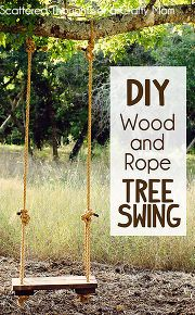 diy rustic wood and rope tree swing, diy, outdoor living