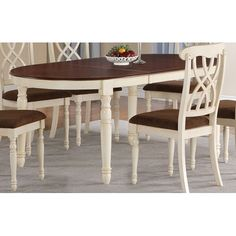 Addison White And Cherry Oval Dining Table With Turned Legs And 18 Inch…