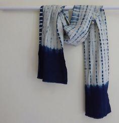 Shibori scarf shawl natural indigo hand-dyed 100% cotton-linen unisex USD 40.00…