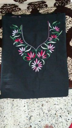 30 Trendy Embroidery Designs for neck to inspire you - Wedandbeyond Embroidery On Kurtis, Hand Embroidery Dress, Kurti Embroidery Design, Flower Embroidery Designs, Embroidery Suits, Embroidered Clothes, Hand Embroidery Stitches, Silk Ribbon Embroidery, Floral Embroidery