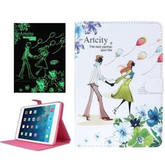 For+iPad+Air+ENKAY+Fluorescent+Effect+Balloon+Couples+Leather+Case+with+Holder,+ENK-3158