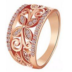 Crystal Four Clover Flower Wedding Ring For Women  Rose Gold Hollow Alloy Rings Everlasting Quality Promise Love Gift For Her #Affiliate