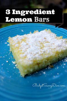 3 Ingredient Lemon Bars Recipe- angel food cake mix, lemon pie filling, powdered sugar!
