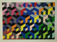 Triaxial weaving canvas (with bias) - A great tut for this optical illusion wall Art!