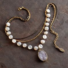 why is every casual necklace I like at least $200?   Chalcedony and Druzy Necklace | National Geographic Store